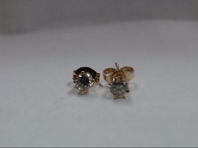 Gold-Diamond Earrings 2 Diamonds .30 Carat T.W. 10K Yellow Gold 0.6g