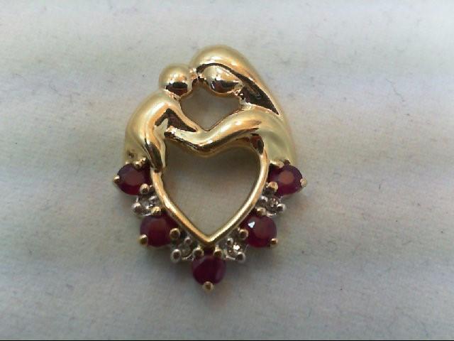 Ruby Gold-Diamond & Stone Pendant 4 Diamonds .04 Carat T.W. 10K Yellow Gold