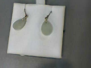 Jade Gold-Stone Earrings 14K Yellow Gold 0.7dwt