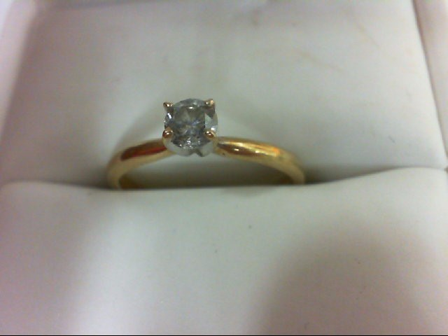 Lady's Diamond Solitaire Ring 0.3 CT. 14K Yellow Gold 2g Size:6.75