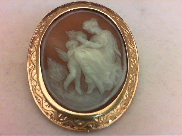 Synthetic Cameo Gold-Stone Brooch 18K Yellow Gold 9.5g