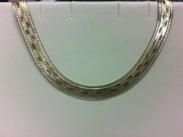 Gold Herringbone Bracelet 14K Yellow Gold 9.8g
