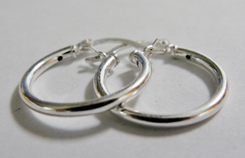 Silver Hoop Earrings 925 Silver 1.2dwt