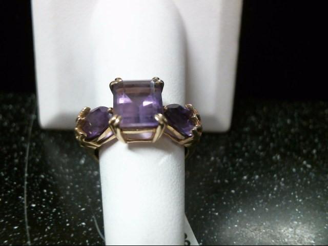 Synthetic Amethyst Lady's Stone & Diamond Ring 4 Diamonds .08 Carat T.W.