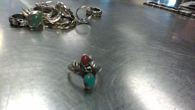 Synthetic Turquoise Lady's Silver & Stone Ring 925 Silver 5.2g