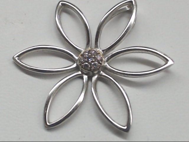 Gold Flower Diamond Charm 14K White Gold 1.8g