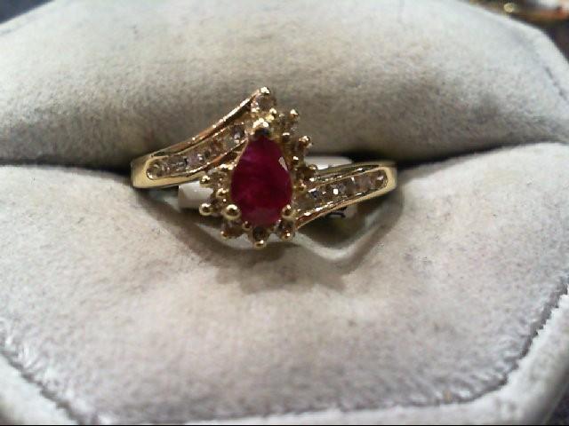 Ruby Lady's Stone & Diamond Ring 19 Diamonds .29 Carat T.W. 14K Yellow Gold