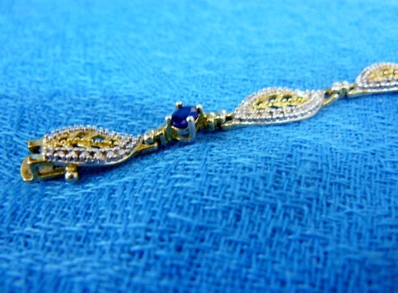 Synthetic Sapphire Silver-Stone Bracelet 925 Silver 5.21dwt
