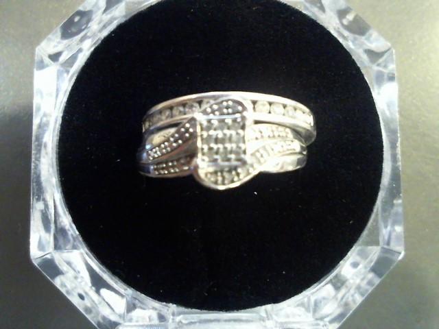Lady's Silver-Diamond Ring 45 Diamonds .45 Carat T.W. 925 Silver 5.1g Size:7