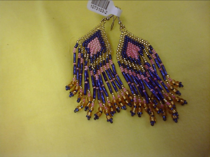 EARRINGS JEWELRY JEWELRY; BLUE AND PINK BEADS