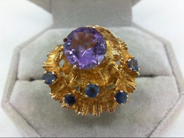 Amethyst Lady's Stone Ring 14K Yellow Gold 8.8g