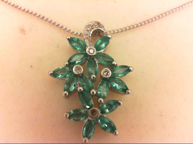 Emerald Silver-Diamond & Stone Pendant 6 Diamonds 0.06 Carat T.W. 925 Silver 3.3