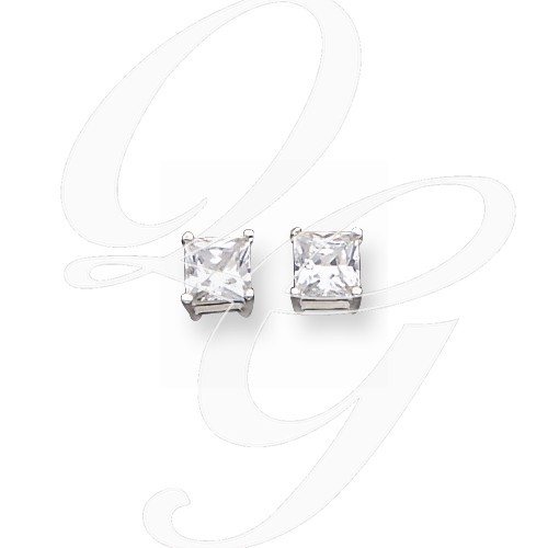 Synthetic Cubic Zirconia Silver-Stone Earrings 925 Silver 2.2g