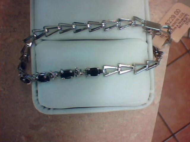 Blue Stone Gold-Diamond & Stone Bracelet 4 Diamonds .04 Carat T.W.