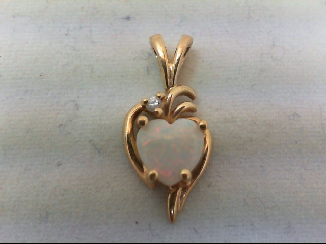 Opal Gold-Diamond & Stone Pendant .01 CT. 10K Yellow Gold 0.9g