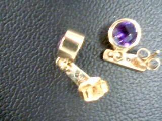 Synthetic Amethyst Gold-Diamond & Stone Earrings 2 Diamonds .04 Carat T.W.