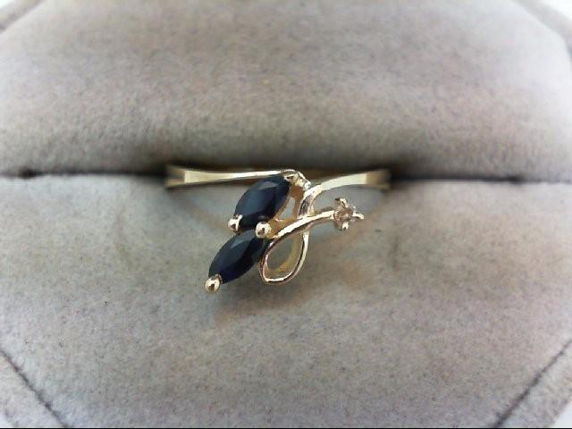 Sapphire Lady's Stone & Diamond Ring .01 CT. 10K Yellow Gold 1.3g