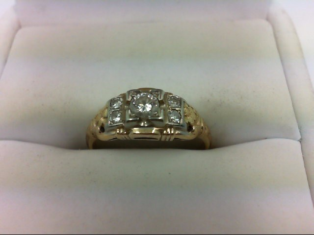 Lady's Diamond Engagement Ring 5 Diamonds .22 Carat T.W. 14K Yellow Gold 2g