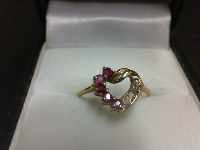 Ruby Lady's Stone Ring 14K Yellow Gold 1.6g