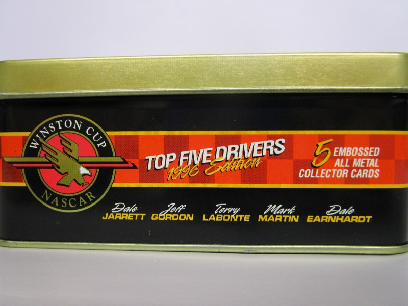 WINSTON CUP NASCAR, TOP FIVE DRIVERS, 1996 EDITION, 5 EMBOSSED ALL METAL CARDS