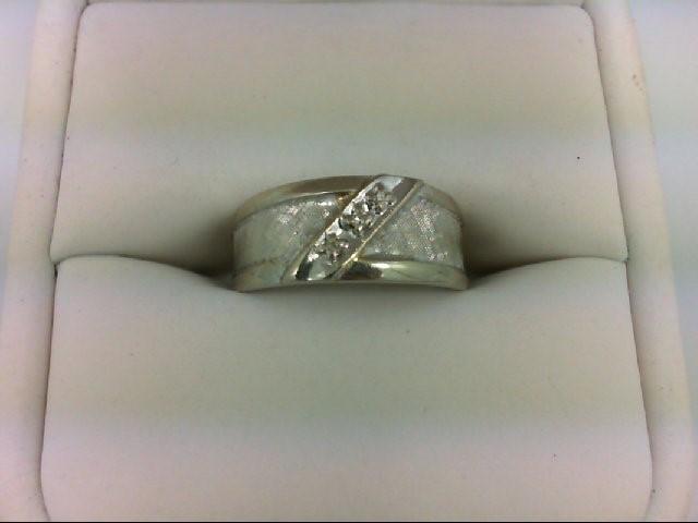 Lady's Diamond Wedding Band 3 Diamonds 0.03 Carat T.W. 14K White Gold 3.8g Size: