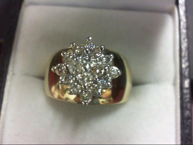 Lady's Diamond Cluster Ring 16 Diamonds .58 Carat T.W. 10K Yellow Gold 5.8g