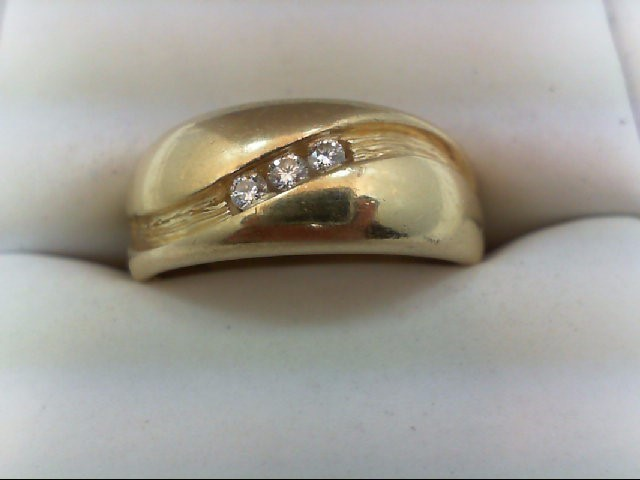Gent's Gold-Diamond Wedding Band 3 Diamonds 0.15 Carat T.W. 14K Yellow Gold 6.5g