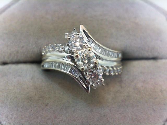 Lady's Diamond Wedding Set 45 Diamonds 1.00 Carat T.W. 14K White Gold 6.46g