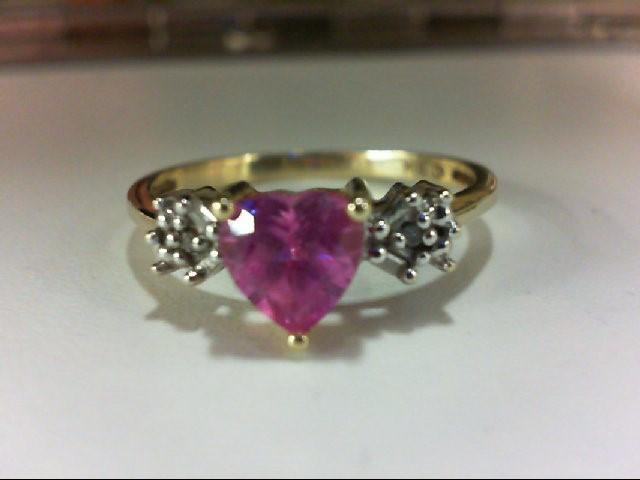 Synthetic Pink Sapphire Lady's Stone & Diamond Ring 4 Diamonds .06 Carat T.W.