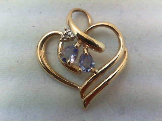 Tanzanite Gold-Stone Pendant 10K Yellow Gold 1.4g