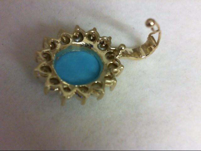 Turquoise Gold-Stone Pendant 14K Yellow Gold 5.2g
