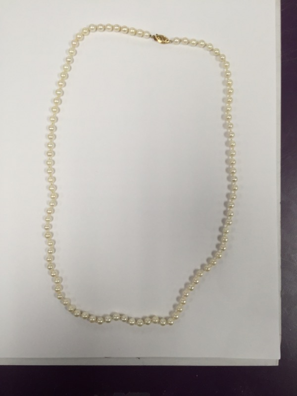 Pearl Necklace 14K Yellow Gold clasp 5.00