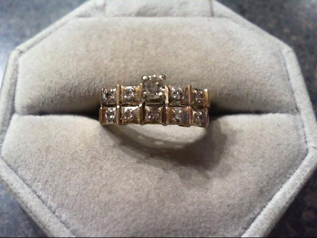 Lady's Diamond Wedding Set 10 Diamonds .24 Carat T.W. 14K Yellow Gold 3.7g