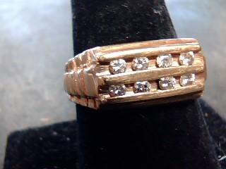 Gent's Gold-Diamond Wedding Band 8 Diamonds .24 Carat T.W. 10K Yellow Gold