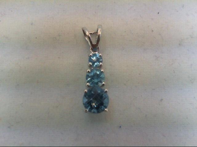 Blue Topaz Gold-Stone Pendant 10K White Gold 1.2g
