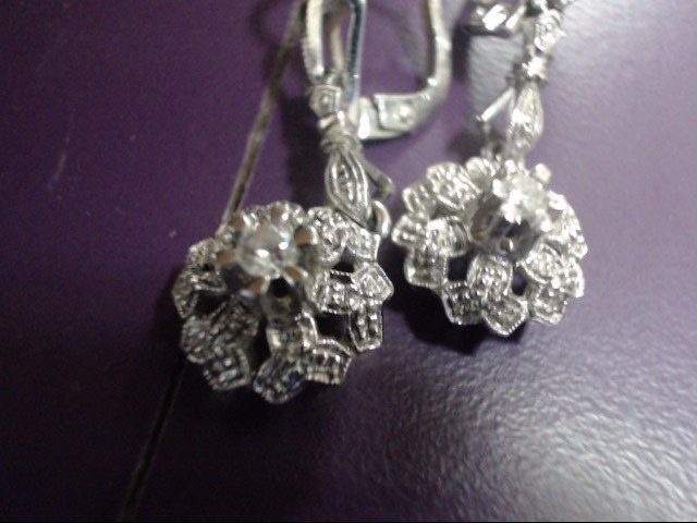 Antique Gold-Diamond Earrings 2 Diamonds 0.14 Carat T.W. 18K White Gold 5.96g