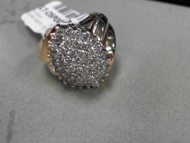 Lady's Diamond Cluster Ring 53 Diamonds 2.12 Carat T.W. 14K Yellow Gold 10g