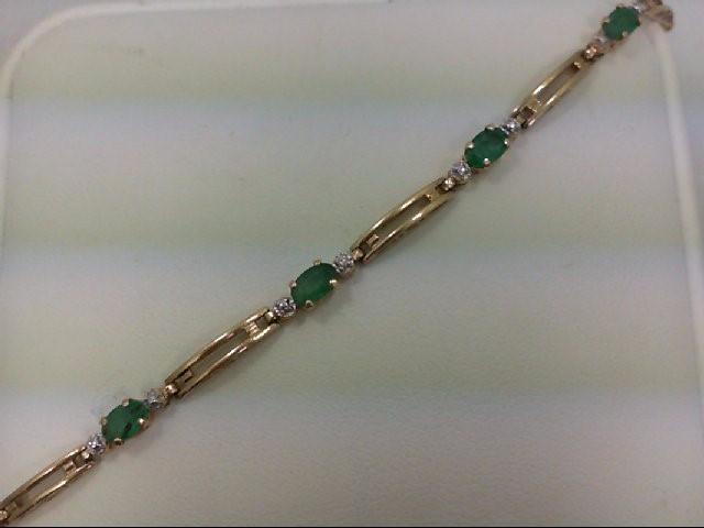 Emerald Gold-Stone Bracelet 14K Yellow Gold 3.1g