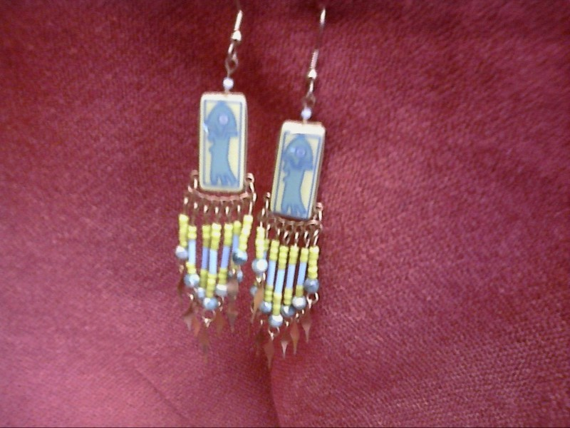 GREEN FISH WITH BLUE AND GREEN BEAD EARRINGS