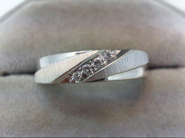 Gent's Diamond Fashion Ring 4 Diamonds .08 Carat T.W. 10K White Gold 3.6g