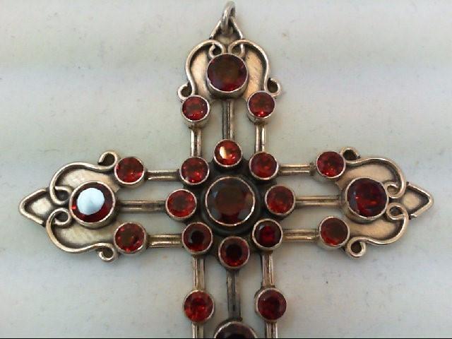 Almandite Garnet Silver-Stone Pendant 925 Silver 20.8g