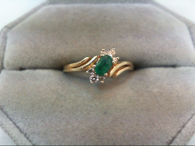 Emerald Lady's Stone & Diamond Ring 6 Diamonds .10 Carat T.W. 14K Yellow Gold