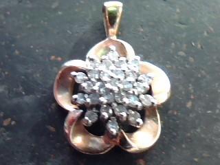 Gold-Multi-Diamond Pendant 26 Diamonds .52 Carat T.W. 10K Yellow Gold 1.6dwt