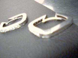 Gold-Diamond Earrings 28 Diamonds .56 Carat T.W. 14K White Gold 5.9g