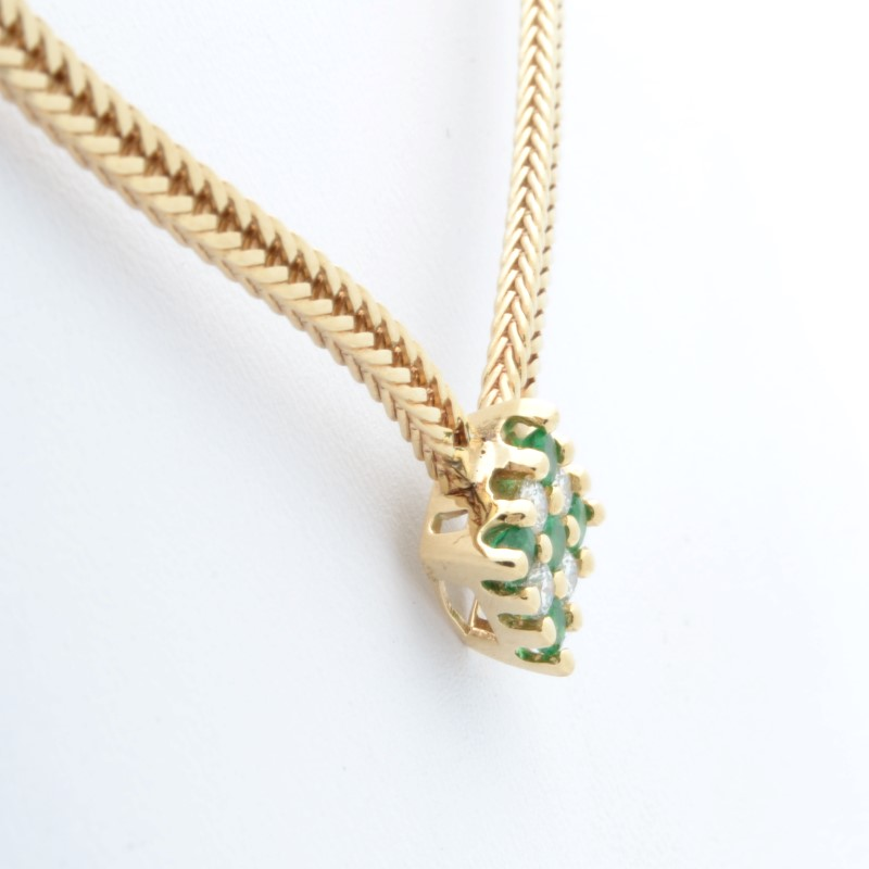 ESTATE DIAMOND EMERALD GREEN NECKLACE SOLID 14K YELLOW GOLD FINE 15""