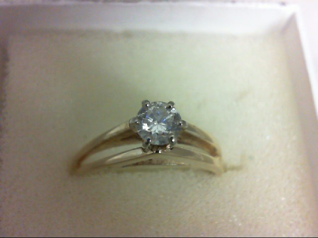 Lady's Diamond Solitaire Ring 0.35 CT. 14K Yellow Gold 2.6g Size:7.25