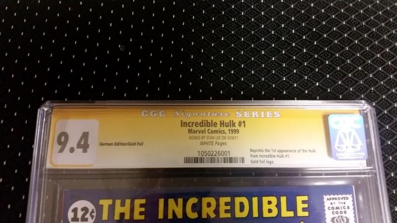 The Incredible Hulk #1 1999 German Reprint Gold Foil CGC SS 9.4 Stan Lee