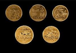 SET OF 5 GOLD-PLATED QUARTERS