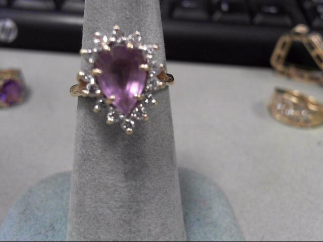 Purple Stone Lady's Stone & Diamond Ring 14 Diamonds .28 Carat T.W.