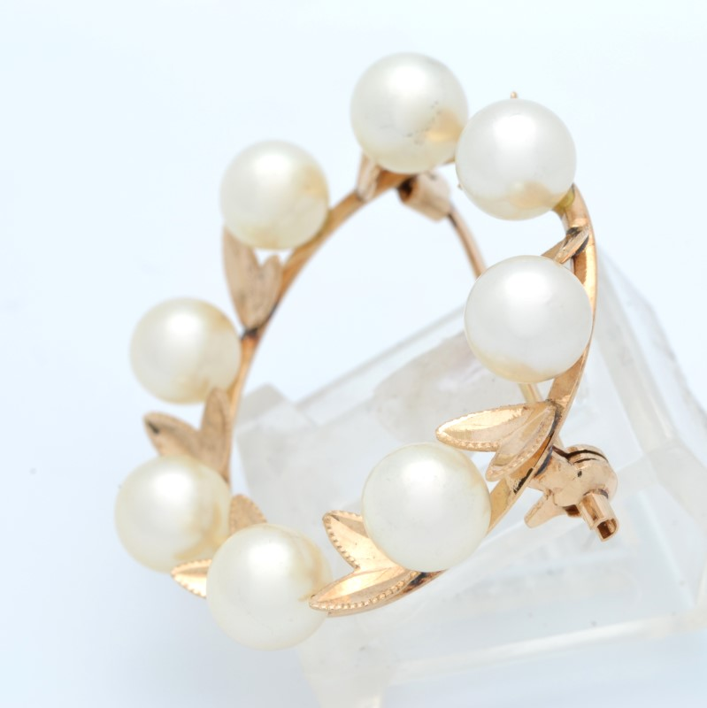 ESTATE PEARL BROOCH PIN SOLID 14K YELLOW GOLD CIRCLE LEAVES LIFE
